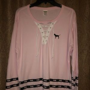 VS Pink Campus Lace-up Pullover